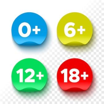 Icone di restrizione di età. adesivi colorati rotondi