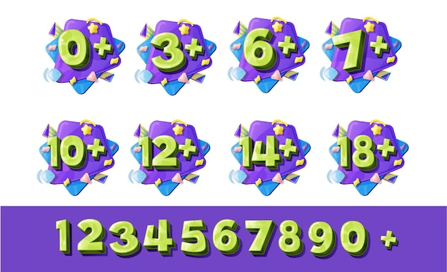 Numeri di restrizione di età, segni da zero a nove
