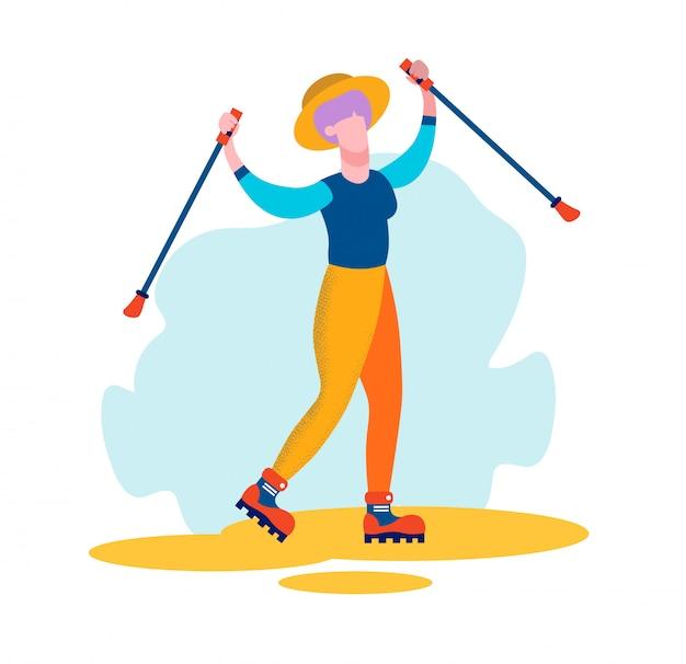 La donna invecchiata in abbigliamento sportivo impegna il nordic walking