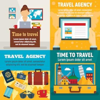 Set di banner di viaggio di agenzia. illustrazione piatta del viaggio dell'agenzia