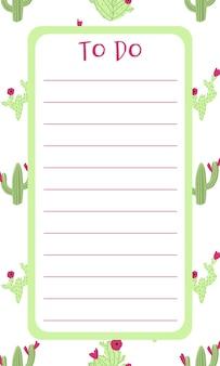 Elenco vuoto dell'agenda con il cactus sullo sfondo in stile doodle disegnato a mano del fumetto