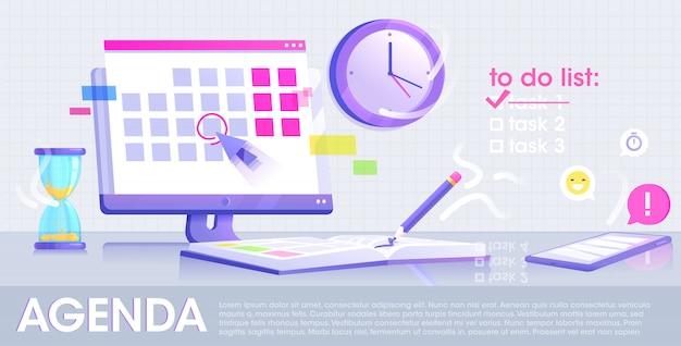 Banner di concetto del sito web di agenda. lo schermo monitor con un calendario e un quaderno giornaliero con matita e telefono con applicazione. design piatto.
