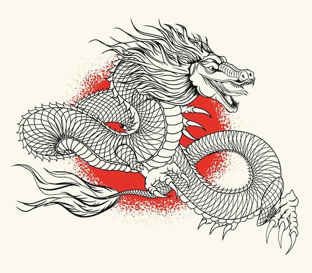 Concetto aggressivo del drago fantasy giapponese