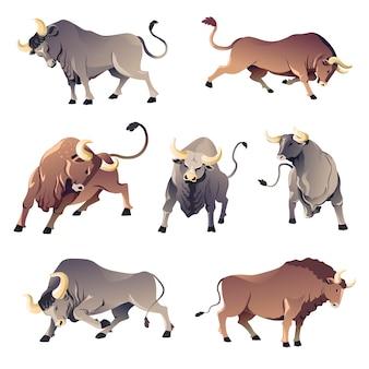 Anteriore aggressivo degli animali selvatici, vista posteriore e profilo. tori isolati di corrida, bue arrabbiato o bufalo. fauna selvatica pericolosa, mascotte del potere e dell'aggressività. personaggio o bestiame, vettore in stile piatto