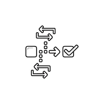 Icona di doodle di contorni disegnati a mano di gestione del progetto agile. strategia di mischia, concetto di sviluppo di mischia