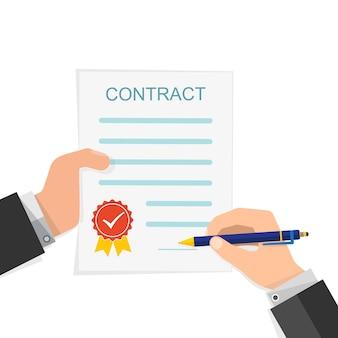 Concetto di accordo - firma della mano del contratto cartaceo isolato su bianco