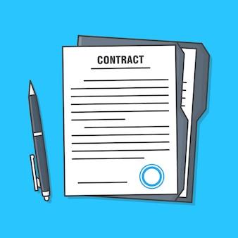Documento di accordo o pagina di contratto di foglio di carta legale con illustrazione della penna. documenti contrattuali piatti