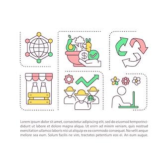 Icona di concetto di componenti agroalimentari con testo. produzione vegetale e agricoltura.