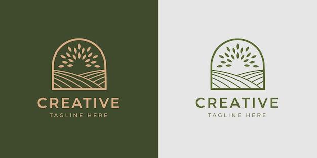 Modello di progettazione del logo del campo agricolo illustrazione vettoriale del modello di progettazione della linea del logo moderno del campo di semi di grano