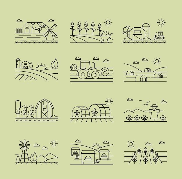 Set lineare bianco e nero di icone agricole. mietitrebbiatrice, agrimotor, spaventapasseri sul campo.