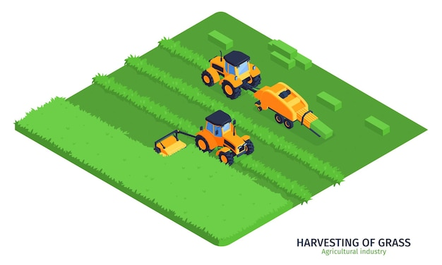 Illustrazione isometrica dell'industria agricola con macchinari per la raccolta dell'erba sul campo verde