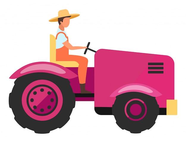 Illustrazione piana di vettore del macchinario agricolo. manodopera agricola che guida il personaggio dei cartoni animati del mini trattore di agricoltura. veicolo di raccolta e coltivazione. attrezzature agricole. coltivatore, trattorista