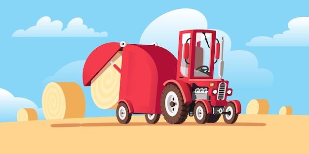 Macchine agricole per la raccolta. ci sono rotoli di fieno nel campo. trattore rosso in stile cartone animato. paesaggio rurale. illustrazione.