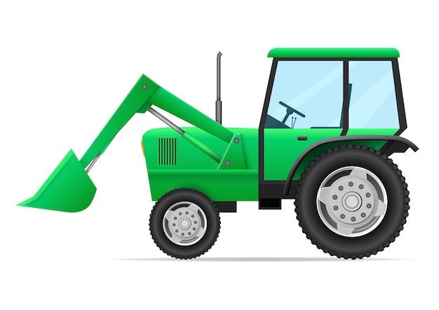 Vista laterale del veicolo agricolo. trattore verde, selezionatore con benna isolata