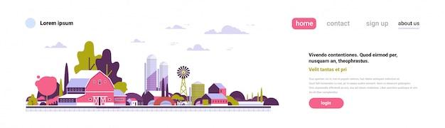 Banner di design piatto paesaggio agricolo fattoria mulino a vento costruzioni terreno agricolo campagna design piatto copia spazio