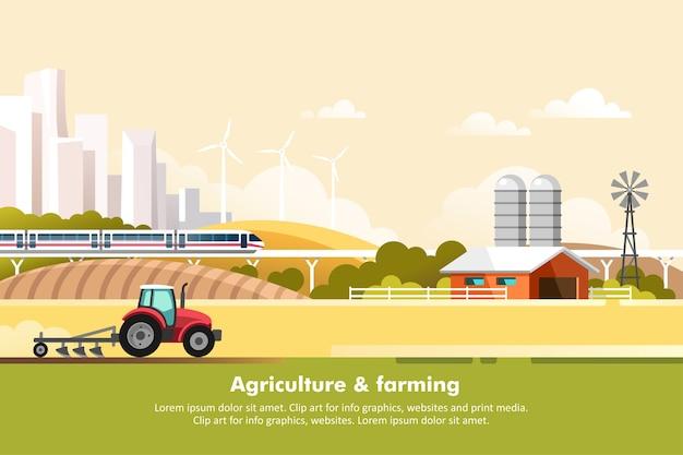 Agricoltura e allevamento agroalimentare paesaggio rurale con silhouette megapolis e ferrovia