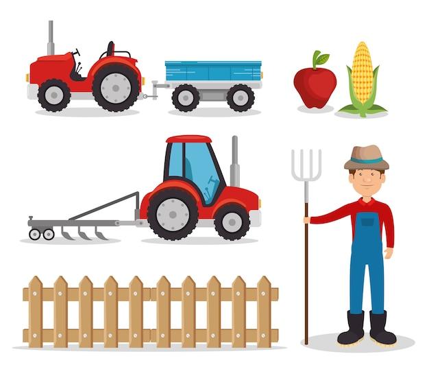 Set di icone di agricoltura e allevamento