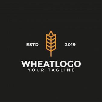 Modello di progettazione di logo di grano di grano di agricoltura