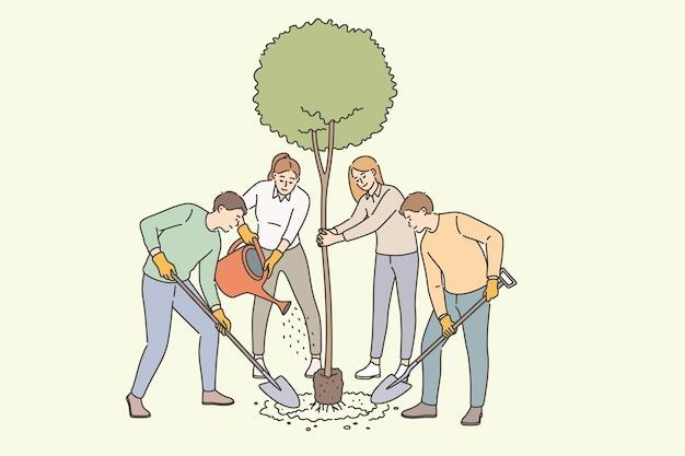 Agricoltura, albero in crescita e concetto di piantagione. gruppo di giovani agricoltori sorridenti in piedi che piantano salutano l'albero che si prendono cura dell'illustrazione vettoriale delle piante