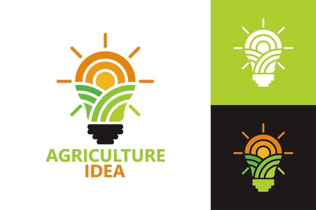 Modello di logo della lampadina idea di agricoltura vettore premium