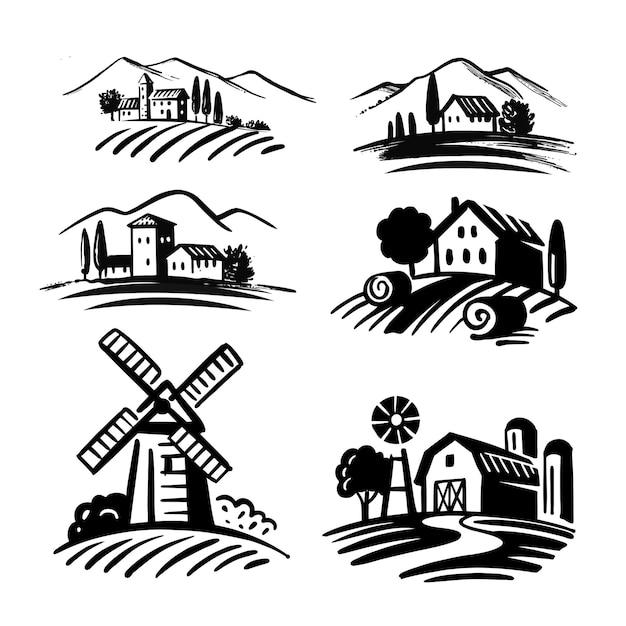 Emblemi dell'azienda agricola del paesaggio di agricoltura. edificio rurale retrò in campo