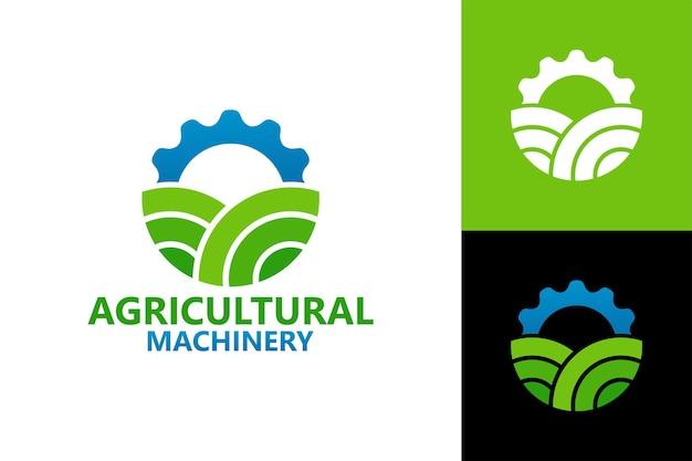 Modello di logo di macchine agricole vettore premium