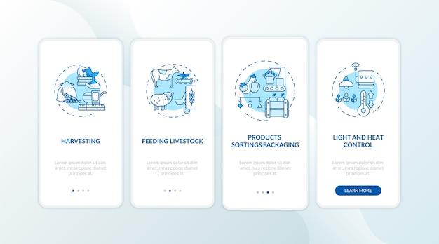 Tipi di macchine agricole durante l'imbarco nella schermata della pagina dell'app mobile con concetti.