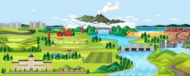 Scena del paesaggio rurale di agricoltura