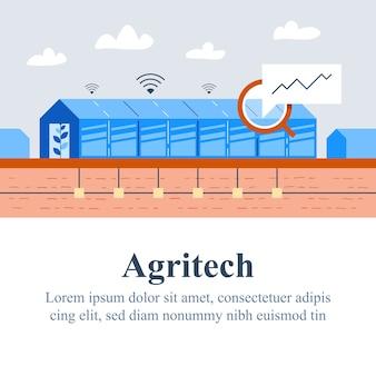 Tecnologia agricola, concetto agritech, sistema di automazione, miglioramento della resa, soluzione intelligente, serra di vetro o serra, efficienza agricola, aumento del raccolto, illustrazione piatta