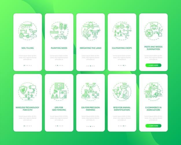Schermata della pagina dell'app mobile per l'onboarding della tecnologia agricola con i concetti impostati