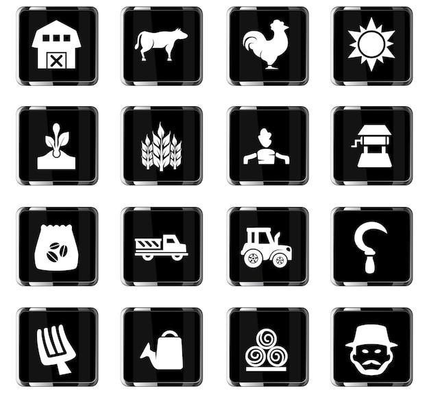 Icone vettoriali per l'agricoltura per la progettazione dell'interfaccia utente