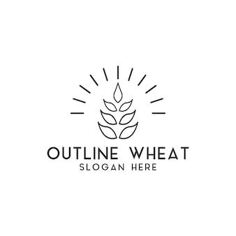 Vettore del modello di progettazione di logo del grano di agricoltura isolato