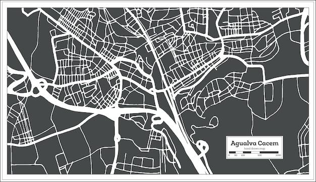Mappa della città di agualva cacem portogallo in stile retrò. mappa di contorno. illustrazione di vettore.