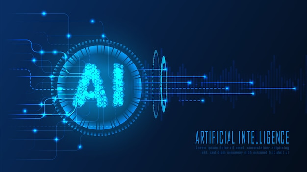 Dati di analisi ai nel concetto futuristico adatto per opere d'arte tecnologiche future, sfondo web reattivo