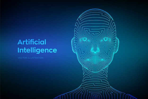 Ai. concetto di intelligenza artificiale. viso umano digitale wireframe astratto nell'interpretazione robotica del computer digitale.