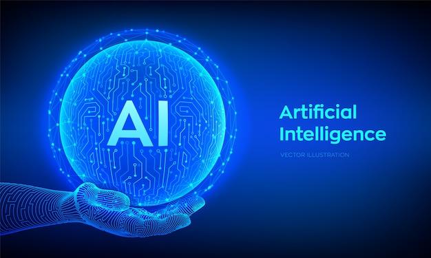 Ai. logo di intelligenza artificiale. intelligenza artificiale e concetto di apprendimento automatico. sfera astratta del circuito di tecnologia in mano. tecnologia dei big data. reti neurali.