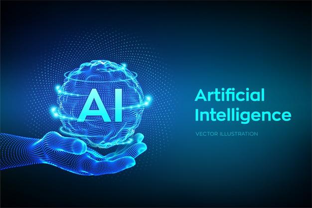 Ai. logo di intelligenza artificiale in mano. Vettore Premium