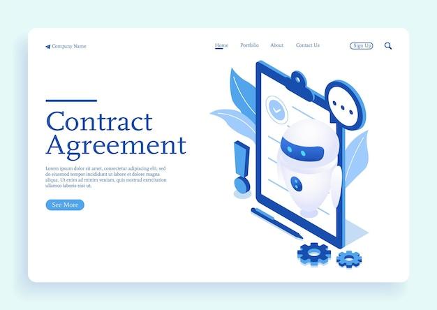 Ai robot ispezione del carattere del documento del contratto lettura dell'informativa sulla privacy e termini e condizioni