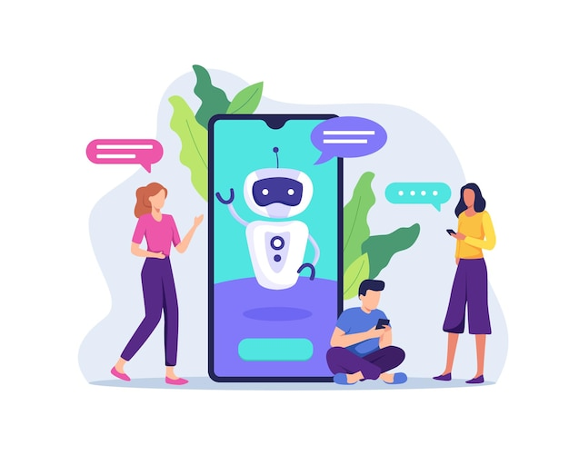 Tecnologia ai con chat bot che riceve i messaggi dei client. marketing futuro, bot intelligente di intelligenza artificiale online che parla per aiutare il cliente. in uno stile piatto