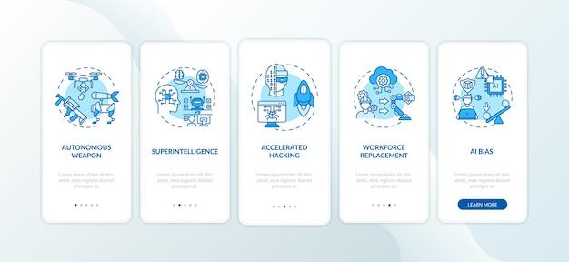Minacce di intelligenza artificiale nella schermata della pagina dell'app mobile con concetti