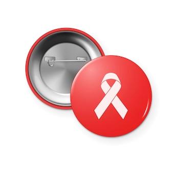Nastro di sensibilizzazione contro l'aids sulla vista anteriore e posteriore del distintivo del pulsante circolare, giornata mondiale contro l'aids