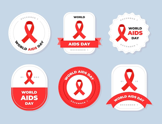 Set di etichette per il giorno dell'aids