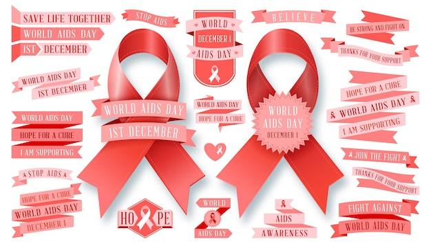 Insieme di segni di raccolta del nastro dell'aids