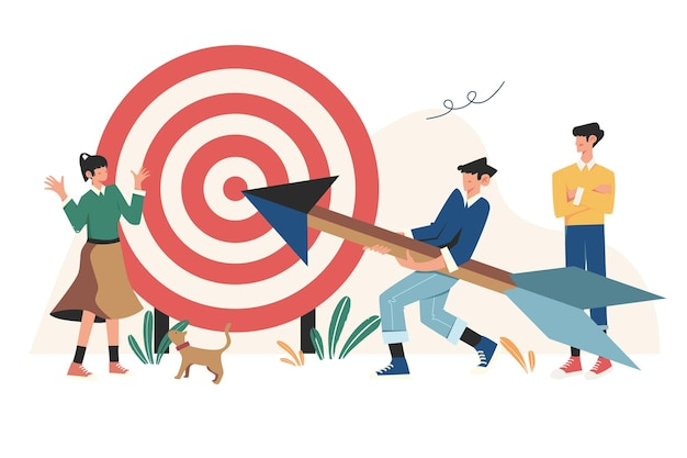 Mirato a un obiettivo aumentare la motivazione un modo per raggiungere un obiettivo Vettore Premium