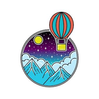 Air ballon in the night monoline badge
