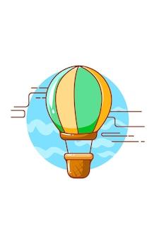 Illustrazione del fumetto dell'icona dell'aerostato di aria Vettore Premium