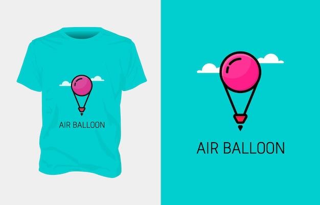 Disegno della maglietta dell'illustrazione dell'aerostato di aria