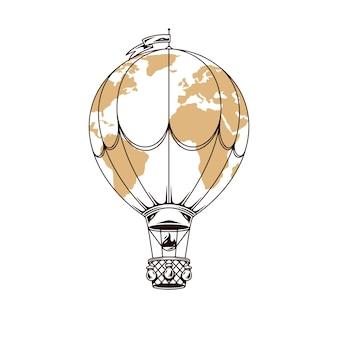 Mondo di viaggio dell'aerostato di aria isolato su bianco