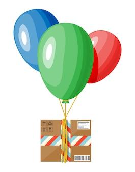 Pacchetto di mongolfiere e scatola di cartone. servizi di consegna contactless ed e-commerce. negozio online online e consegna senza contatto. illustrazione vettoriale piatta