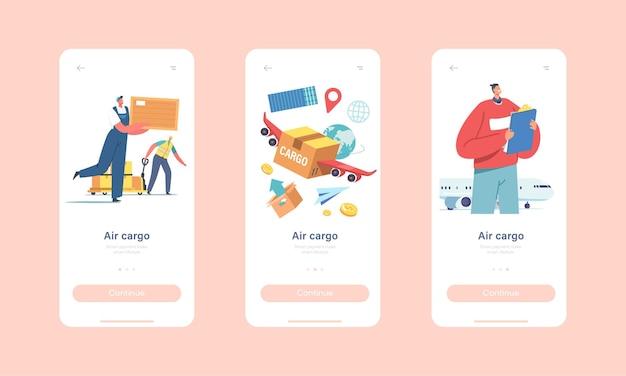Pagina dell'app mobile per il trasporto aereo di merci a bordo